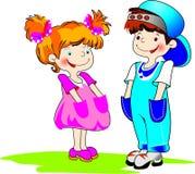 иллюстрация gilr цвета мальчика Стоковые Изображения