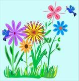 иллюстрация hummingbirds сада цветка малая Стоковое Изображение RF