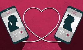 Иллюстрация plattform app датировка и соединение человека и женщины Стоковые Фото