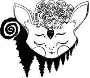 Иллюстрация psychedellic животного в раздумье, деревьев фрактали иллюстрация вектора