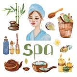 Иллюстрация SPA акварели handmade Дизайн для косметик ходит по магазинам бесплатная иллюстрация