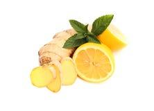 Имбирь, лимон, мята Стоковая Фотография RF