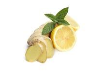 Имбирь, лимон, мята Стоковые Изображения RF
