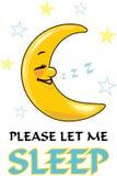 имейте акварели спать изображения луны себя I покрашенные Чертеж шаржа для дизайна стоковые фотографии rf