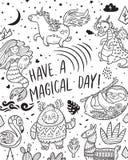 Имейте волшебный день Карточка с реальными, волшебными и мистическими животными Идеал для печати расцветки иллюстрация вектора