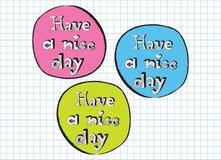 Имейте знаки пинк, синь и зеленый цвет doodle славного дня Стоковые Фото