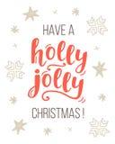 Имейте поздравительную открытку рождества падуба весёлую Стоковые Фотографии RF