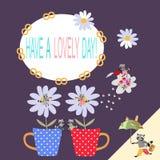 Имейте симпатичный день! Красивая карточка с милыми енотами и комнатными растениями шаржа бесплатная иллюстрация