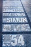 Имена театров Бродвей на Таймс площадь в Нью-Йорке Стоковые Фото