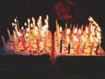 Именниные пирога с свечками Стоковое Изображение