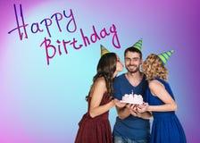именниный пирог воздушных шаров афроамериканца красивейший празднует время партии дома удерживания девушки пола чашки шоколада пр Стоковые Фото
