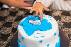 Именниный пирог для младенца Стоковые Фотографии RF