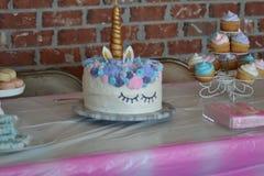 Именниный пирог единорога Стоковое Изображение RF