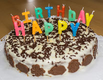 именниный пирог миражирует вектор иллюстрации С днем рождения объект еды Стоковое Фото