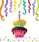 Именниный пирог со свечой и покрашенный confetti с лентами вокруг изображение 3D идеальное для поздравительной открытки бесплатная иллюстрация