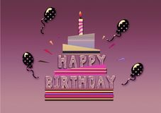 Именниный пирог с днем рождений, воздушный шар, карточка иллюстрации Стоковая Фотография RF