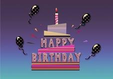 Именниный пирог с днем рождений, карточка иллюстрации Стоковое Изображение RF