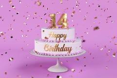 Именниный пирог с золотыми письмами и numer 14 на верхней части бесплатная иллюстрация