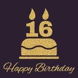Именниный пирог с свечами в форме значка 16 символ дня рождения Sparkles и яркий блеск золота Стоковая Фотография