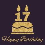 Именниный пирог с свечами в форме значка 17 символ дня рождения Sparkles и яркий блеск золота Стоковая Фотография
