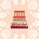 Именниный пирог с 18 свечами 18 лет Стоковые Изображения RF