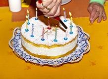 Именниный пирог с свечами Стоковое Фото