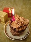 Именниный пирог с свечкой Стоковое Изображение RF
