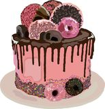 Именниный пирог с donuts иллюстрация вектора