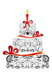 именниный пирог флористический иллюстрация штока