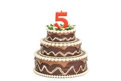 Именниный пирог шоколада с свечой 5, перевод 3D бесплатная иллюстрация
