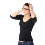 иметь детенышей женщины головной боли Стоковые Фотографии RF