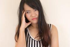 иметь женщину головной боли стоковое изображение