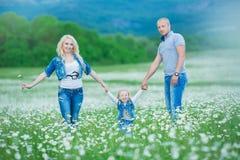 иметь потехи семьи счастливый outdoors Портрет счастливой семьи в людях сельской местности счастливых outdoors нося джинсы наслаж Стоковая Фотография RF