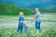 иметь потехи семьи счастливый outdoors Портрет счастливой семьи в людях сельской местности счастливых outdoors нося джинсы наслаж Стоковые Фотографии RF