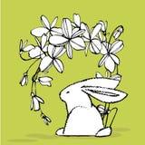 имеющееся приветствие архива пасхи eps карточки Милые кролики с цветками пасхи вручают иллюстрацию притяжки Дизайн открыток иллюс бесплатная иллюстрация