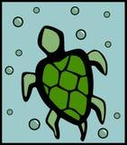 имеющиеся пузыри плавая вектор черепахи Стоковая Фотография RF