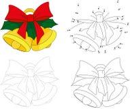 имеющийся вектор иллюстрации рождества колоколов Точка для того чтобы поставить точки игра для детей Стоковые Изображения