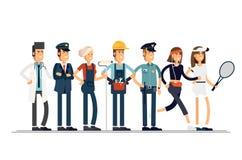 имеющийся вектор работы архива дня Группа людей различных профессий на белой предпосылке Иллюстрация вектора в плоском стиле Стоковые Изображения