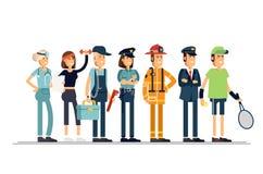 имеющийся вектор работы архива дня Группа людей различных профессий на белой предпосылке Иллюстрация вектора в плоском стиле Стоковые Фотографии RF