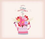 имеющийся вектор valentines архива дня карточки Моча чонсервная банка с букетом акварели цветет Стоковое Изображение