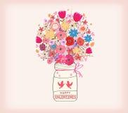 имеющийся вектор valentines архива дня карточки Пук акварели крася цветков в вазе бесплатная иллюстрация