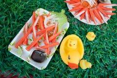 Имитационные ручка и wasabi краба Стоковое Изображение