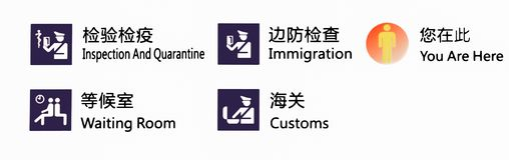 Иммиграция и таможни аэропорта подписывают в аэропорте Китая стоковое фото rf