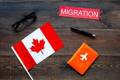 Иммиграция к концепции Канады Иммиграция текста около крышки паспорта и канадского флага на темном деревянном взгляде сверху пред стоковые фото