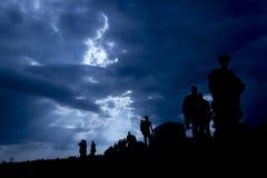 Иммиграция людей с голубым небом стоковая фотография rf