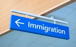 Иммиграция подписывает внутри аэропорт Указатель надписи аэропорта Фото концепции иммиграции Знак паспортного контроля стоковое изображение