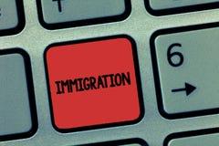 Иммиграция текста сочинительства слова Концепция дела для действия приходить жить peranalysisently в зарубежной стране стоковое фото rf