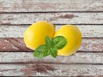 2 лимона изолированного на деревянной предпосылке с космосом экземпляра Стоковые Фотографии RF