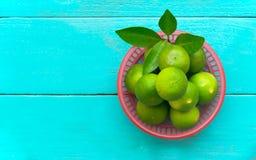лимон известки в красном ведре на голубой деревянной предпосылке скопируйте космос Стоковое Изображение
