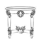 Имперская барочная таблица консоли Французской орнаменты высекаенные роскошью украсили мебель таблицы Стиль вектора викторианский Стоковое Изображение RF
